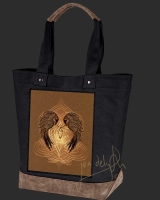 RAVENS HEART  Celtic artPATCH Canvas Resort Tote bag By Jen Delyth