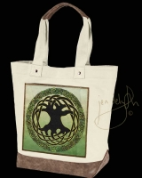 TREE OF LIFE artPATCH Canvas Resort Tote bag By Jen Delyth