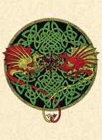 KELTIC DRAGONS - Y Ddraig Goch Greeting Card By Jen Delyth