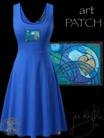 Celtic Crane Blue Tank Flared Dress By Jen Delyth
