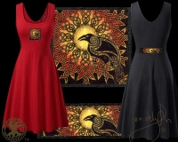 Celtic Solstice Raven Tank Flared Dress By Jen Delyth