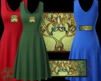 CELTIC TREE SONG Tank Flared Dress By Jen Delyth