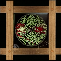 CELTIC DRAGONS  - Y Ddraig Goch Wood Framed Tile by Jen Delyth