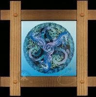 CELTIC SEA HORSES Wood Framed Tile by jen delyth