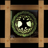 Celtic TREE OF LIFE  Wood Framed Tile by Jen Delyth
