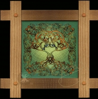 CELTIC TREE SONG  Wood Framed Tile by Jen Delyth