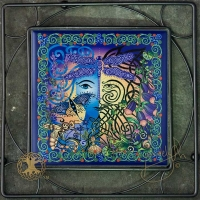 THE GARDEN green man/ blue woman Iron Framed Tile by jen delyth