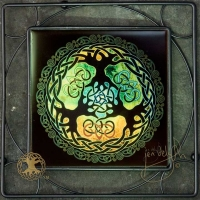 WORLD TREE yggdrasil - Framed Tile by Jen Delyth