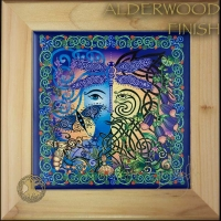 GARDEN green man blue woman Wood Framed Tile