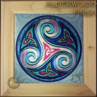 TRISKELE - Celtic Triple Goddess Wood Framed Tile by Jen Delyth