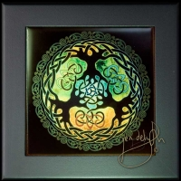 YGGDRASIL world tree of the Norse - Celtic Tree of Life by Jen Delyth Wood Framed Tile