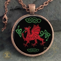 WELSH DRAGON  - Vintage Celt Copper Glass Domed Pendant By Jen Delyth