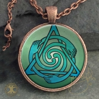 CELTIC HEALERS  - Vintage Celt Copper Glass Domed Pendant By Jen Delyth