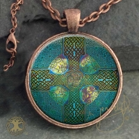 Celtic Cross - Vintage Celt Copper Glass Domed Pendant By Jen Delyth
