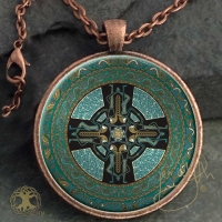 Celtic Mandala - Danu Folk  - Vintage Celt Copper Glass Domed Pendant By Jen Delyth