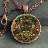CELTIC DRAGONFLY  - Vintage Celt Copper Glass Domed Pendant By Jen Delyth