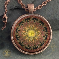 CELTIC SUN - Lleu   - Vintage Celt Copper Glass Domed Pendant By Jen Delyth