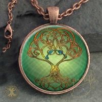 CELTIC TREE SONG - Vintage Celt Copper Glass Domed Pendant By Jen Delyth