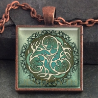 ANTLERS & MOONS  - Vintage Celt Copper Glass Domed Pendant By Jen Delyth