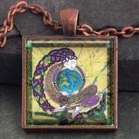 ANU earth mother  - Vintage Celt Copper Glass Domed Pendant By Jen Delyth