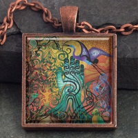 AWEN   - Vintage Celt Copper Glass Domed Pendant By Jen Delyth