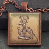 CERNUNNOS Antlered Man  - Vintage Celt Copper Glass Domed Pendant By Jen Delyth
