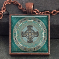 DANU FOLK Celtic Mandala  - Vintage Celt Copper Glass Domed Pendant By Jen Delyth