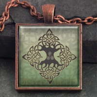 ELEMENTAL TREE of life  - Vintage Celt Copper Glass Domed Pendant By Jen Delyth