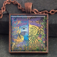 GARDEN Green Man/ Blue Woman - Vintage Celt Copper Glass Domed Pendant By Jen Delyth