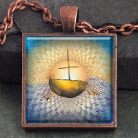 JOURNEY  - Vintage Celt Copper Glass Domed Pendant By Jen Delyth