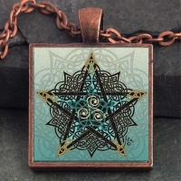 PENTACLE KNOT  - Vintage Celt Copper Glass Domed Pendant By Jen Delyth