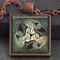 MORRIGAN Triple Ravens - Vintage Celt Copper Glass Domed Pendant By Jen Delyth