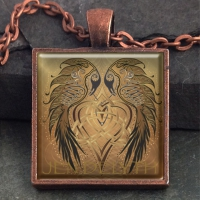 RAVENS HEART  - Vintage Celt Copper Glass Domed Pendant By Jen Delyth