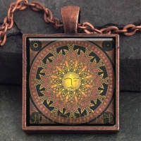 SUN - Lleu - Shining One  - Vintage Celt Copper Glass Domed Pendant By Jen Delyth