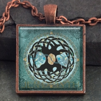 TREE OF LIFE MANDALA - Vintage Celt Copper Glass Domed Pendant By Jen Delyth