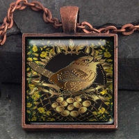 Celtic Wren -  Vintage Celt Copper Glass Domed Pendant By Jen Delyth