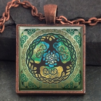 YGGDRASIL world tree- Vintage Celt Copper Glass Domed Pendant By Jen Delyth