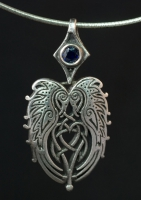 RAVENS HEART - SMALL Sterling Silver Celtic Pendant By Jen Delyth