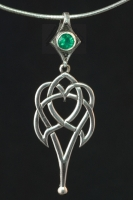 CELTIC HEART - Large Sterling Silver Celtic Pendant By Jen Delyth