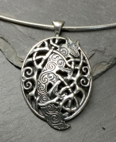 Celtic Woodland Fox - Large Sterling Silver Celtic Pendant By Jen Delyth