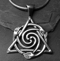 Healers - Large Sterling Silver Celtic Pendant By Jen Delyth