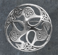 BIRDS of RHIANNON - Sterling Silver Celtic Brooch By Jen Delyth