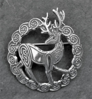 HERNE stag - Sterling Silver Celtic Brooch By Jen Delyth