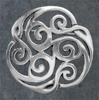 TRISKELION - Sterling Silver Celtic Brooch By Jen Delyth
