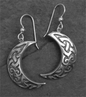MOON - Sterling Silver Celtic Earrings