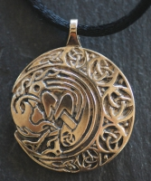 ARIANRHOD - MOON SPIRIT - Large Bronze Celtic Pendant By Jen Delyth
