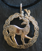 STAG  - Large Bronze Celtic Pendant By Jen Delyth