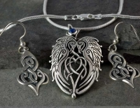 RAVENS HEART - Large Sterling Silver Celtic Pendant By Jen Delyth