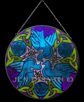 DOVES Celtic Art Stained Glass by Jen Delyth