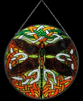 Dragonfly Celtic Art Stained Glass by Jen Delyth